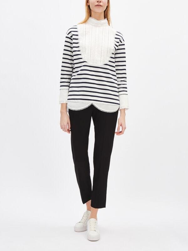 Cotton Bib Stripe Top