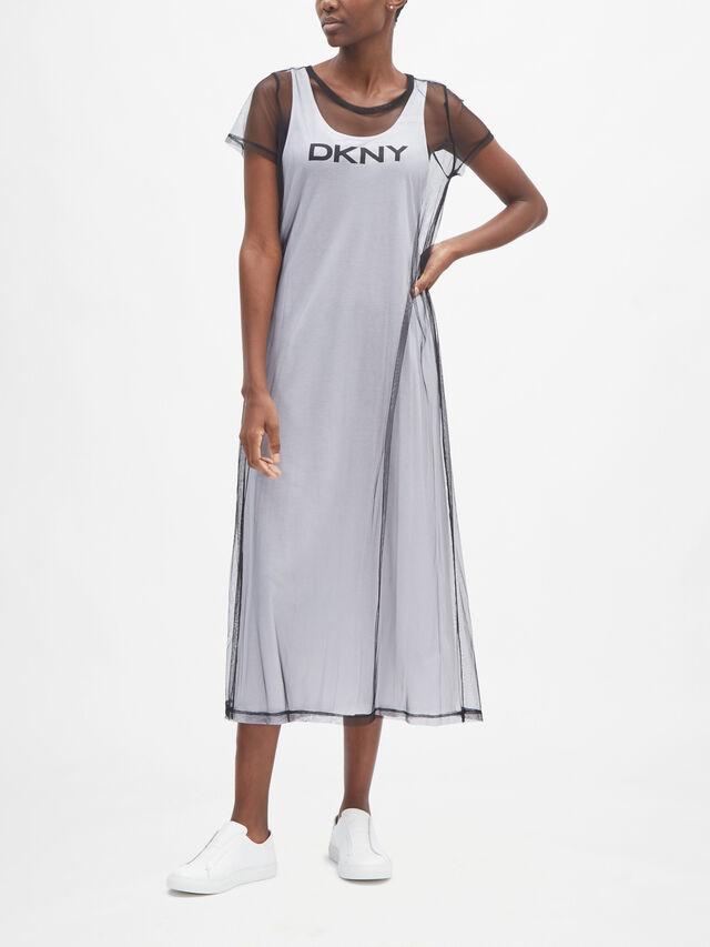 Logo Mesh Overlay Dress