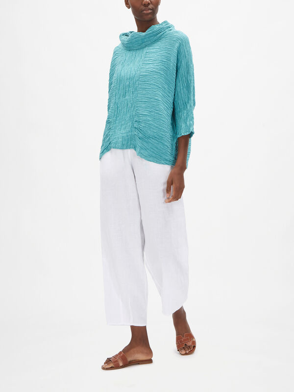 Funnel Neck Linen Top with Front Panel