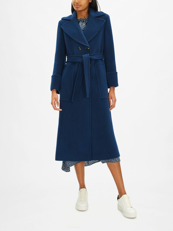 Ermione Belted Wool Coat with Collar