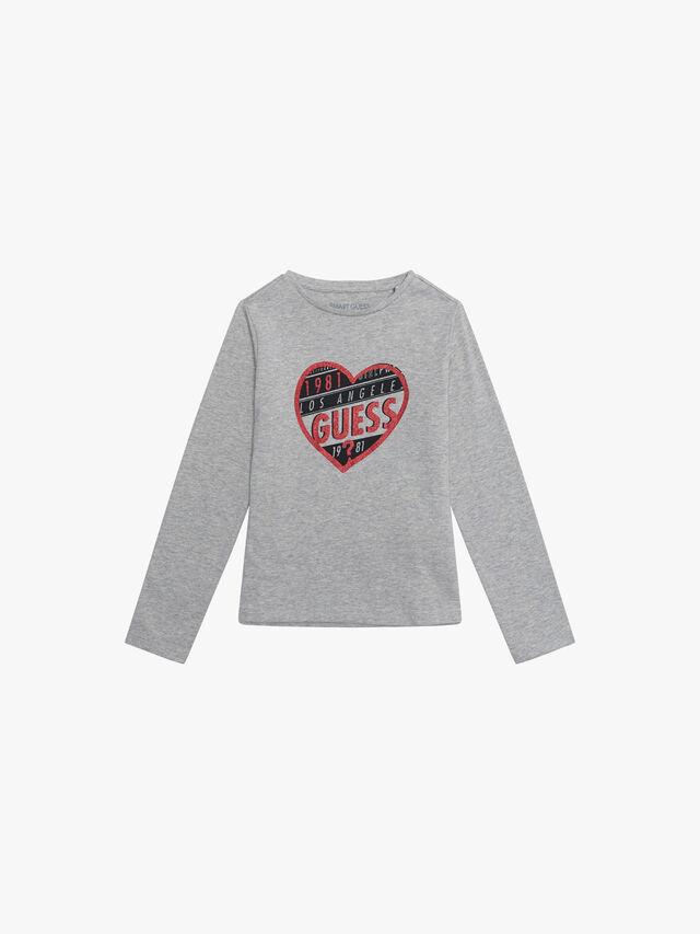 Long Sleeve Heart Guess T-Shirt