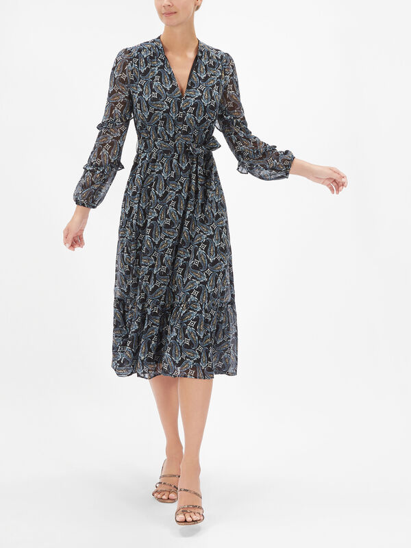 Lina Printed Tiered Maxi Dress with Ruffle Sleeves