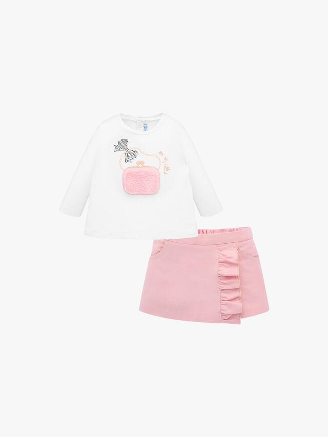Decorative T-Shirt and Ruffled Shorts Set