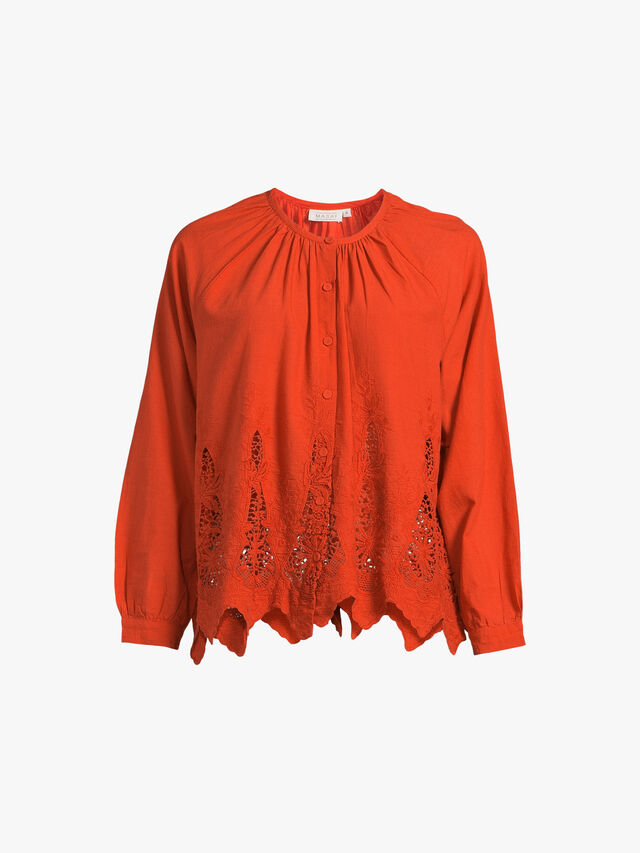 Irena Broderie Anglaise Cotton Blouse