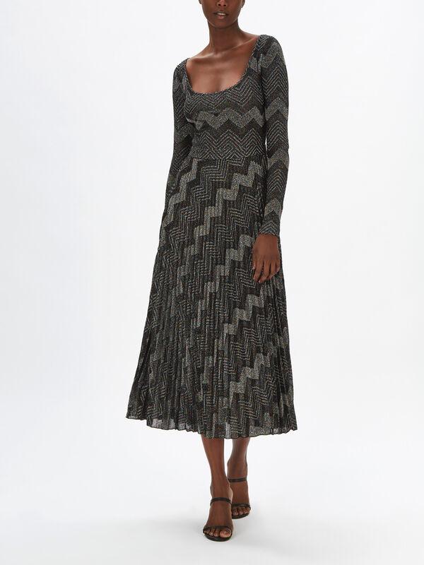 Jersey Zig Zag Lurex Maxi Dress