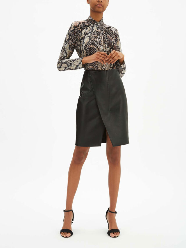 Jade Crossover Faux Leather Skirt