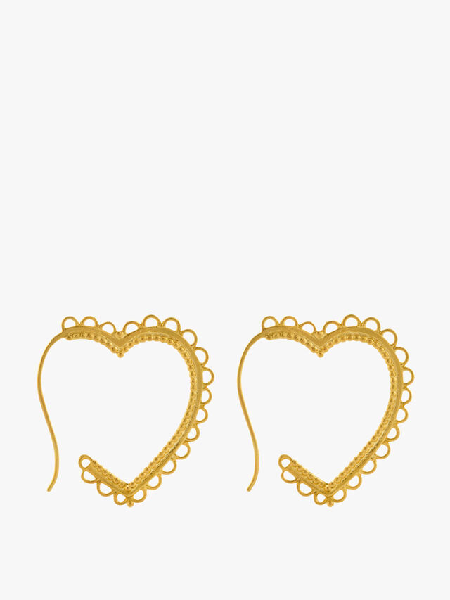 Lace-Edged Heart Hoop Earrings