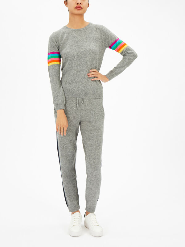 Rainbow Sleeve Crew Sweater