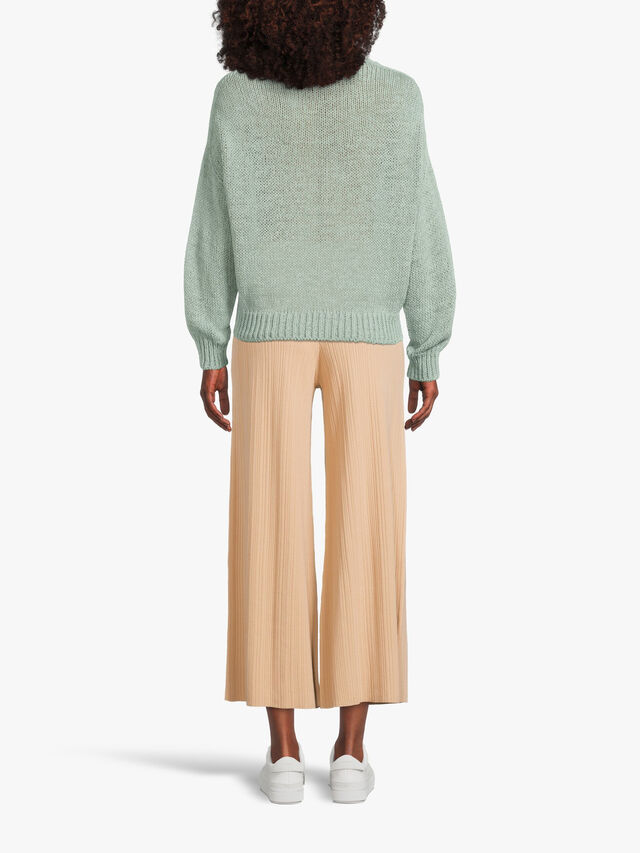 Long Sleeve Drop Shoulder V Neck Chunky Cotton Knit