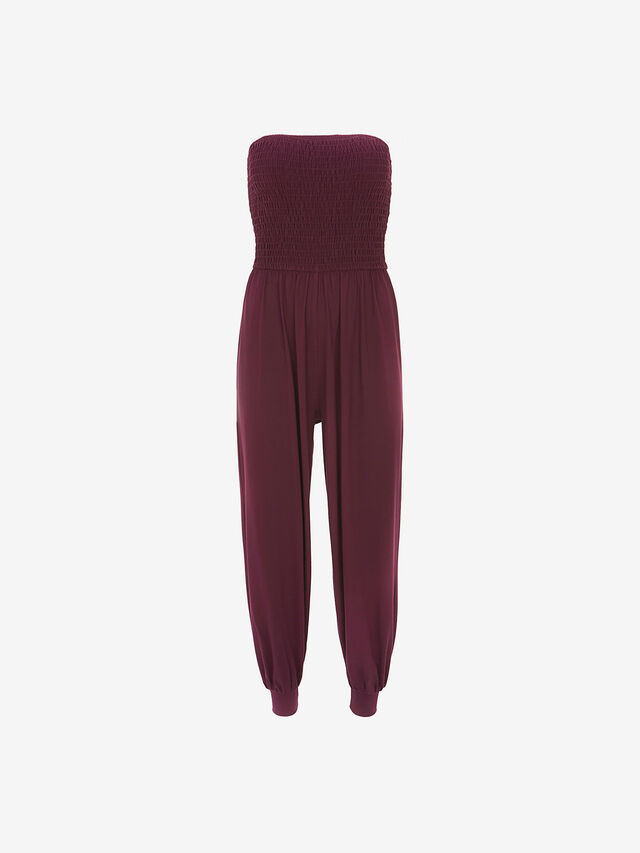 Purple Bandeau Jersey Jumpsuit