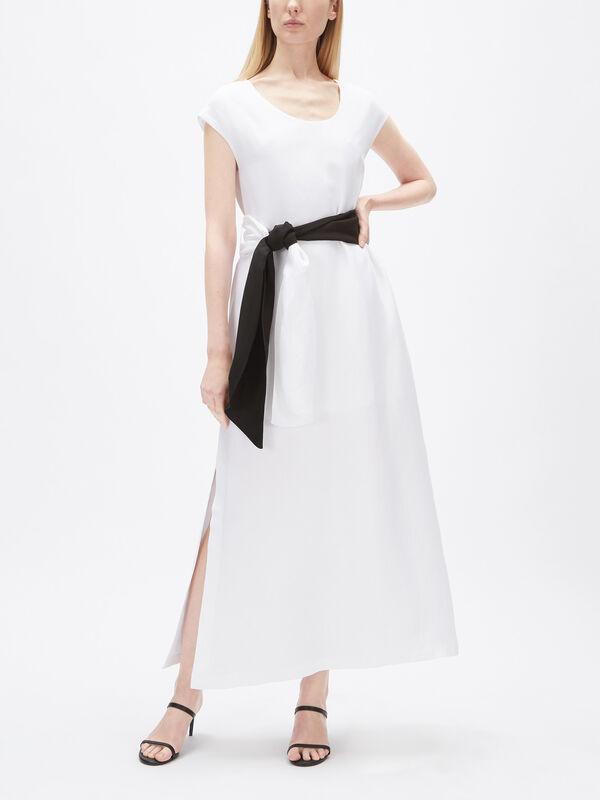 Mono Tie Waist Linen Maxi Dress