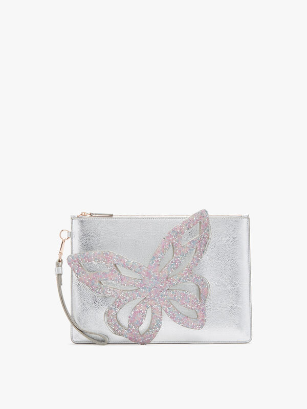 Flossy Butterfly Embellished Pouchette