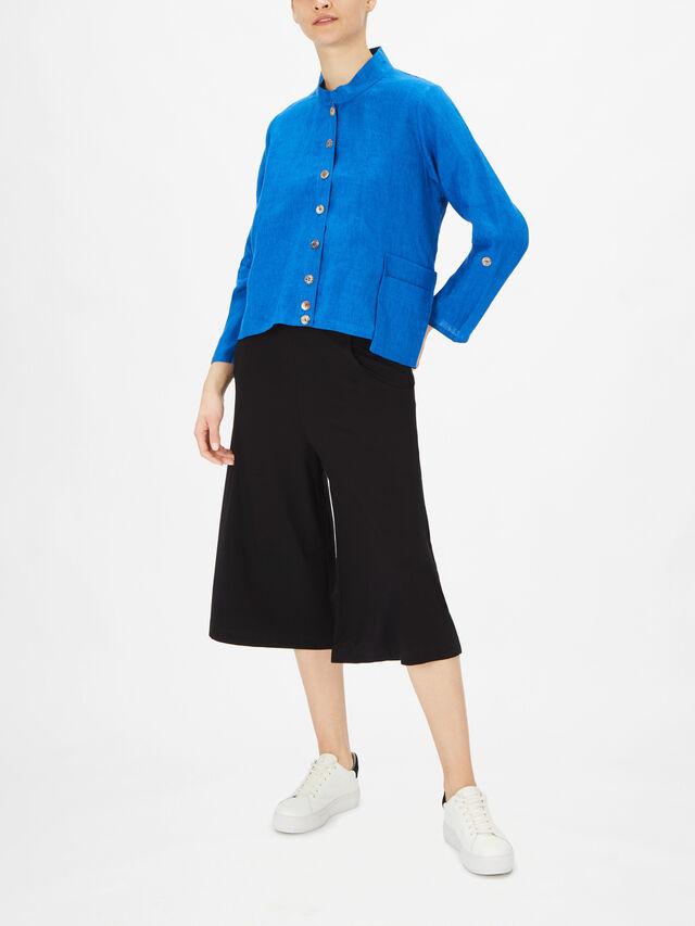 Anandi Mandarin Collar Cropped Jacket with Side Pocket