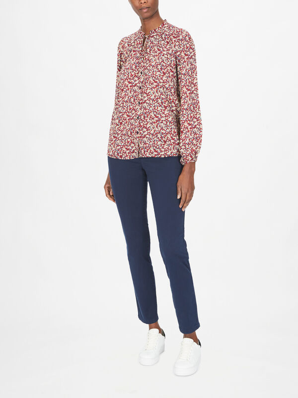 Ditsy Print Long Sleeve Button Down Blouse