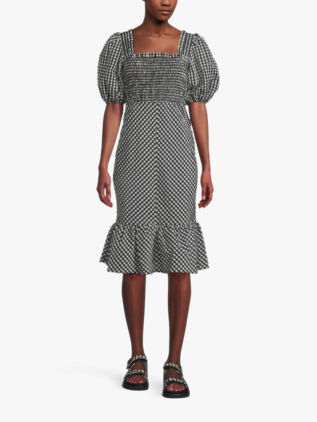 Seersucker Check Square Neck Dress