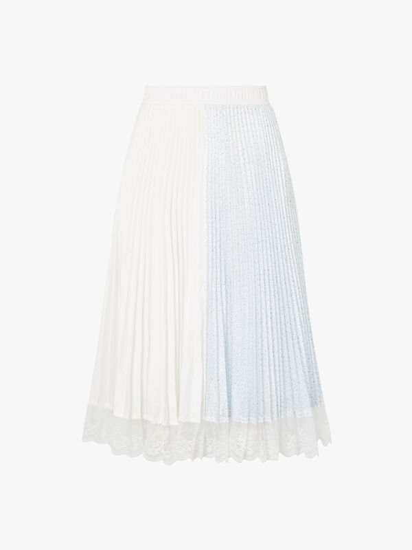 Floral Pleated Skirt with Lace