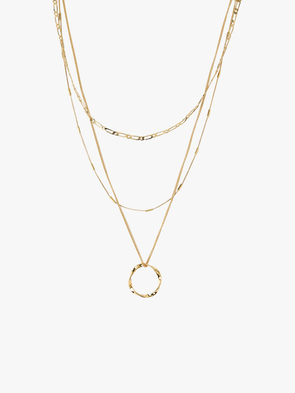 Circle Chain 3 Row Necklace Set