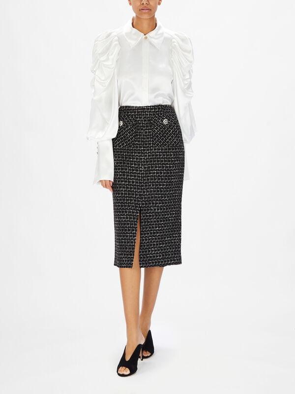 Split Front Jewel Button Pencil Skirt