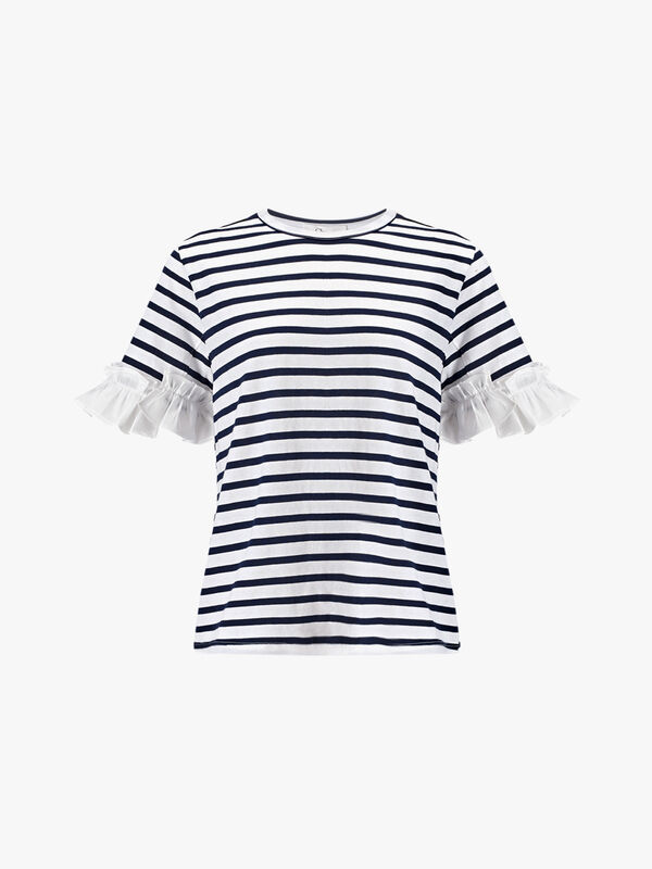 Stripe T Shirt with Ruffles