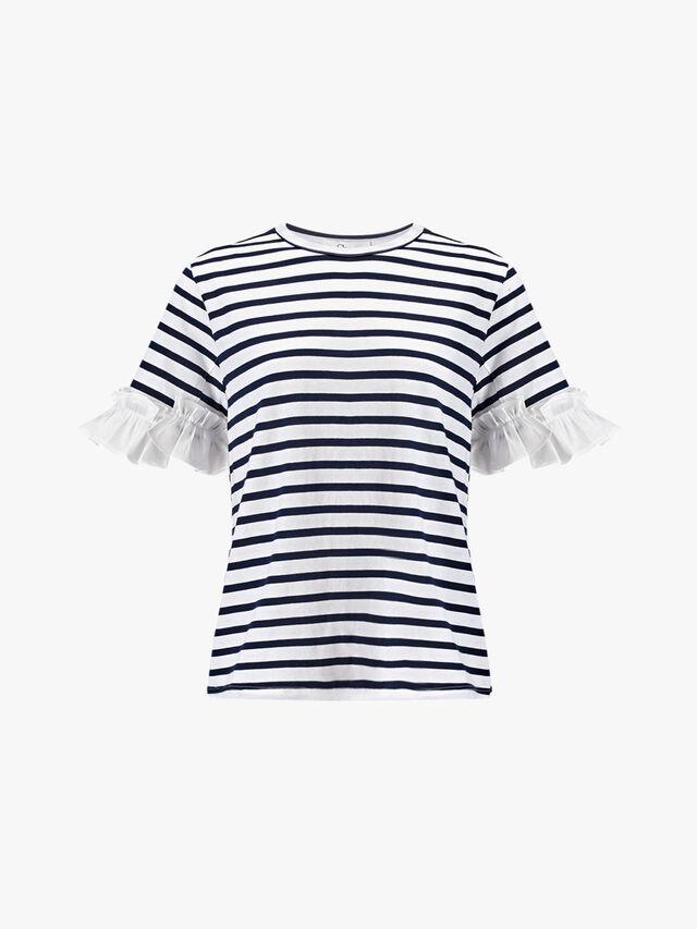 Stripe T Shirt with Ruffles