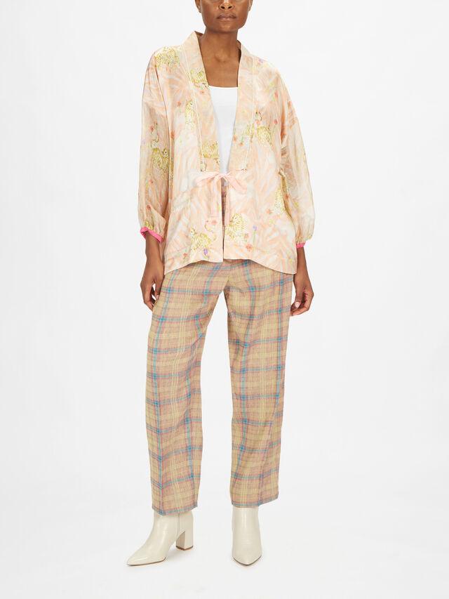 Printed Silk Satin and Voile Kimono Jacket