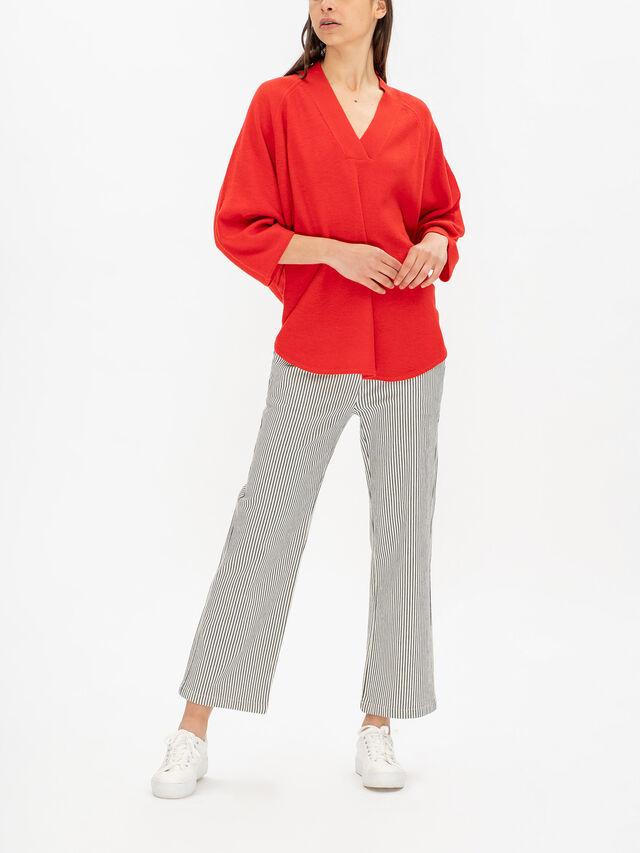 Femke Cropped Sleeve V Neck Wool Knit