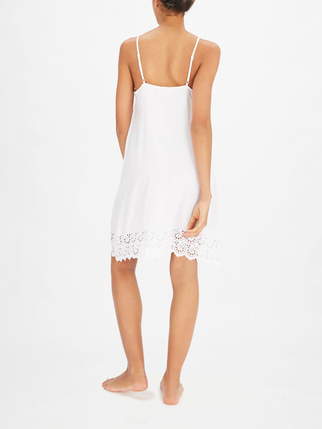 Leah White All Over Embroidery Chemise