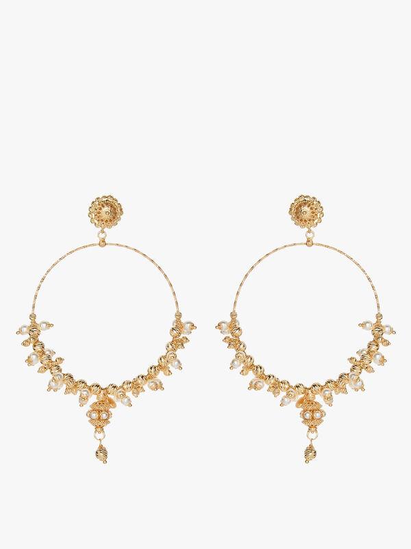 Pearl Mega Hoop Earrings