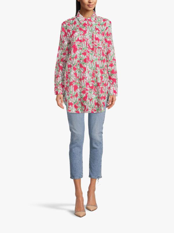 Palm Print Longline Cotton Shirt