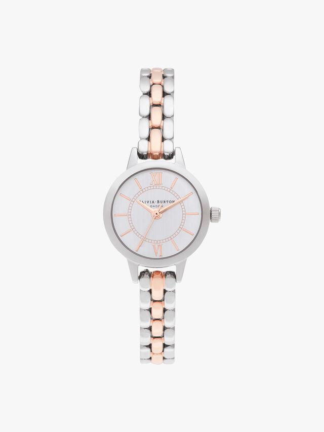 Mini Dial Silver & Rose Gold Bracelet Watch