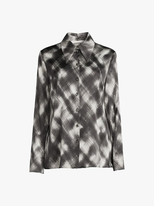 Stretch Satin Printed Soft Shirt