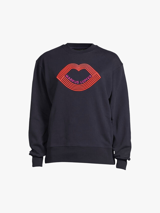 Sophie Embroidered Graphic Lip Sweatshirt