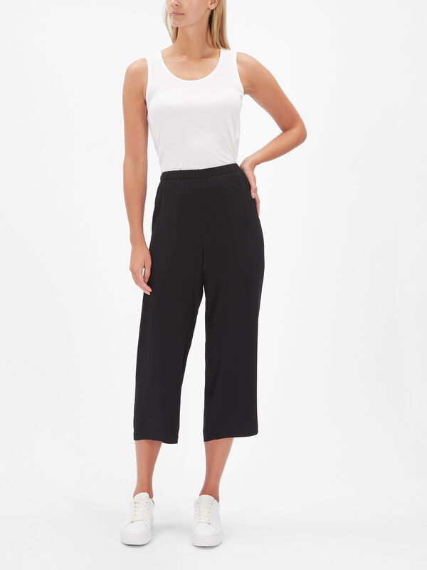 Silk Georgette Crepe Slouchy Ankle Trousers