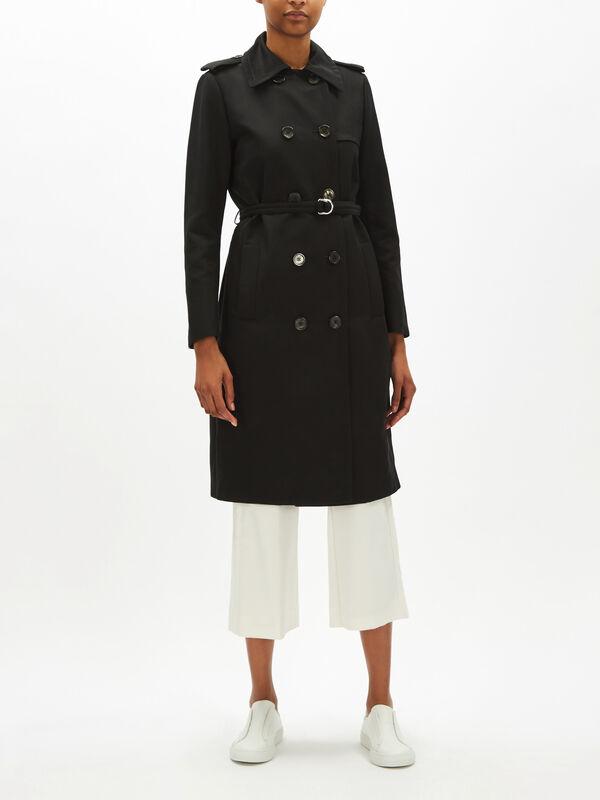 Black Smart Trench Coat