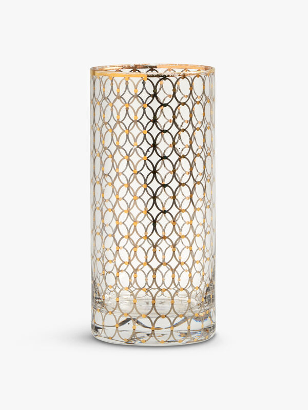 Gold Pattern Tall Glass