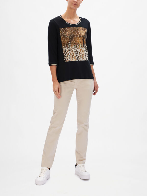 3/4 Sleeve Print Front Top