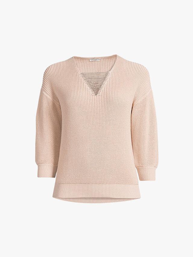 Cropped Sleeve Embellished V Neck Knit