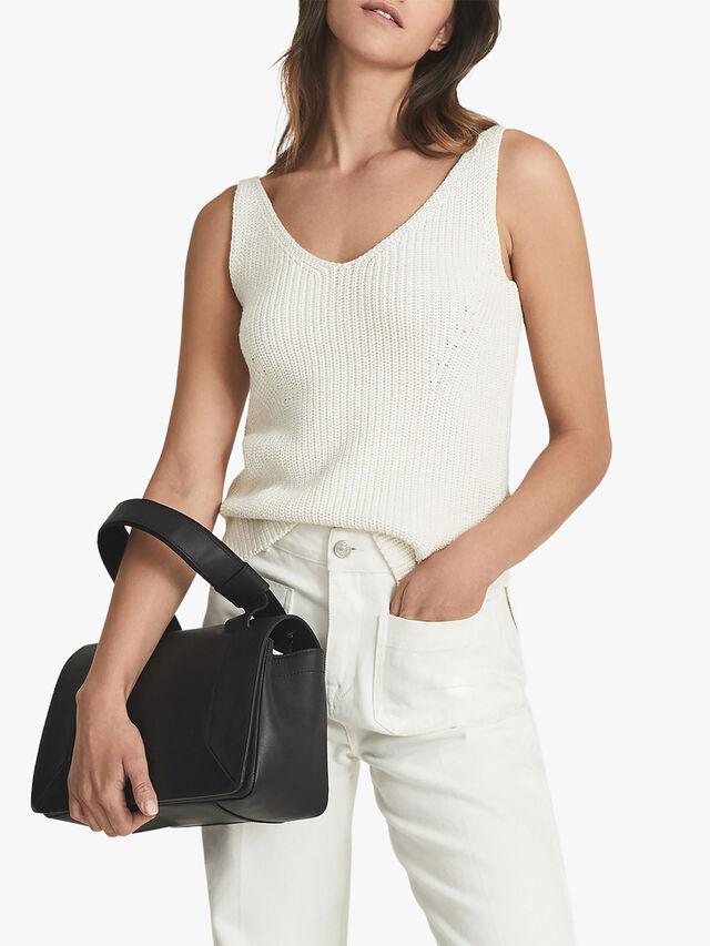 Sienna Cotton-Silk Chunky-Knit Vest Top