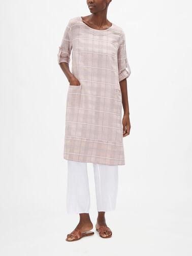 3-1-4-Slv-Cotton-Silk-Check-Tunic-w-Front-Pockets-52293-S196