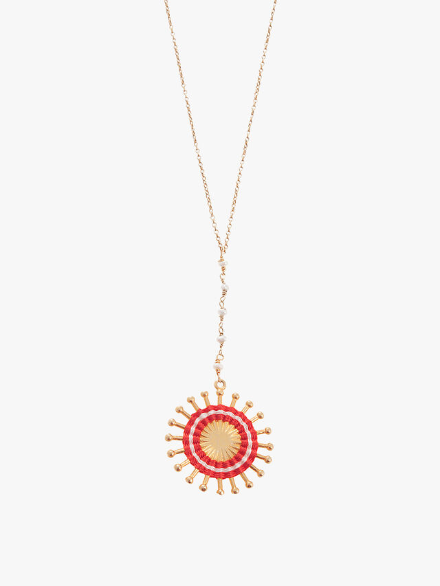 Pearl Sunburst Long Chain Necklace