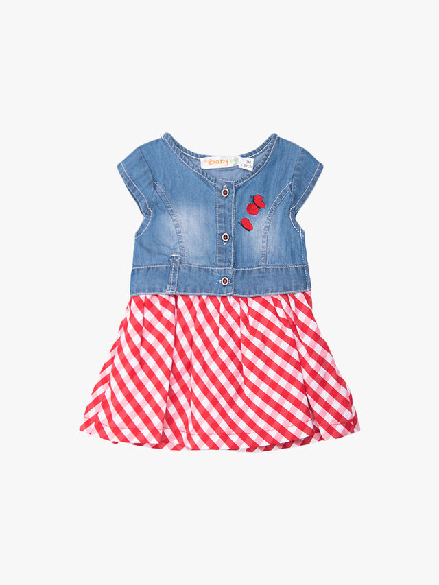 Denim Top & Gingham Skirt Dress