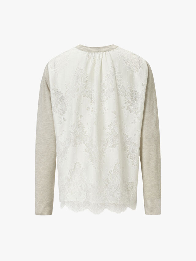 Pullover with Lace Panel