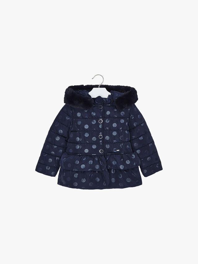 Polka Dot Puffa With Faux Fur Collar