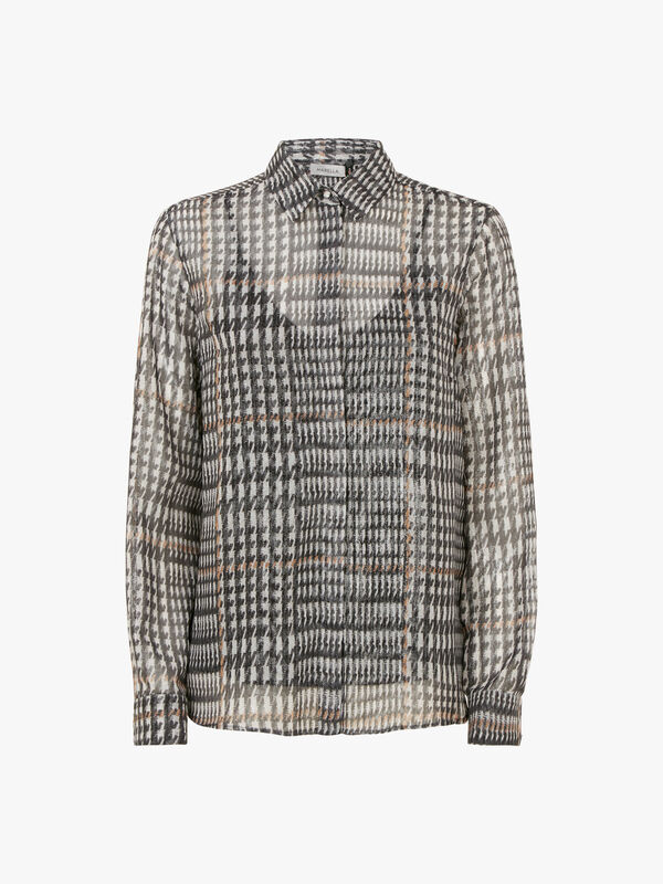 Briose Sheer Houndstooth Blouse