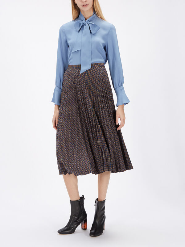 Verve Check Print Pleat Skirt