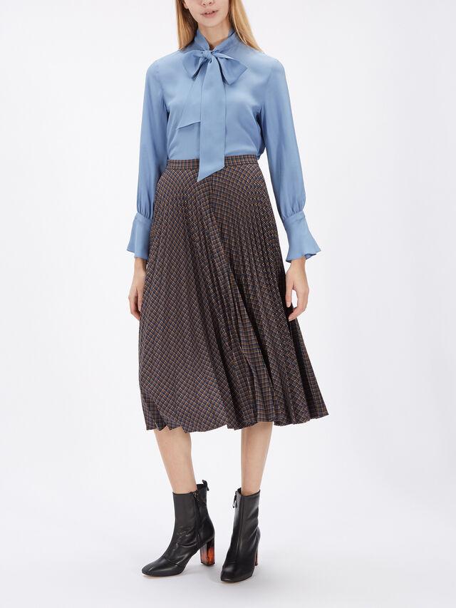 Verve Check Print Pleat Skirt
