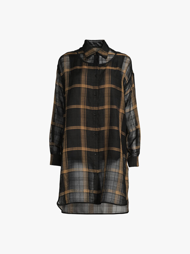 Windowpane Check Organza Long Shirt