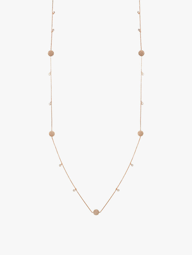 Long Necklace With Pave Discs