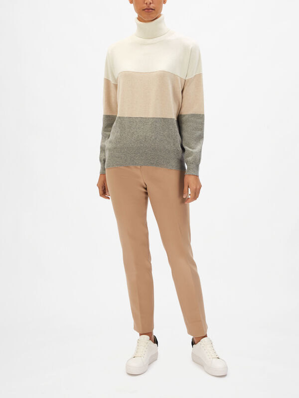 Colour Block Lurex Roll Neck Knit