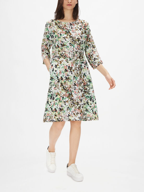 Nonie Abstract Floral Print Shift Dress with Wide Sleeves